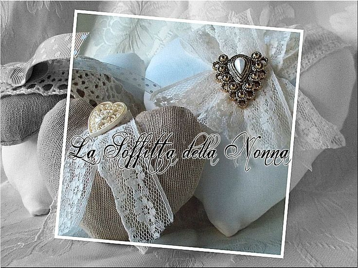 Cuori shabby in tessuto Shabby chic style fabric hearts