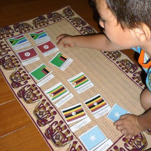 This first PDF file contains 9 pages of Montessori style 3-part cards, that is 53 different cards with the African flag and the name of the country. This 2nd PDF file contains 2 pages of flags of Africa used with the Montessori puzzle maps. It also includes detailed instructions of how to