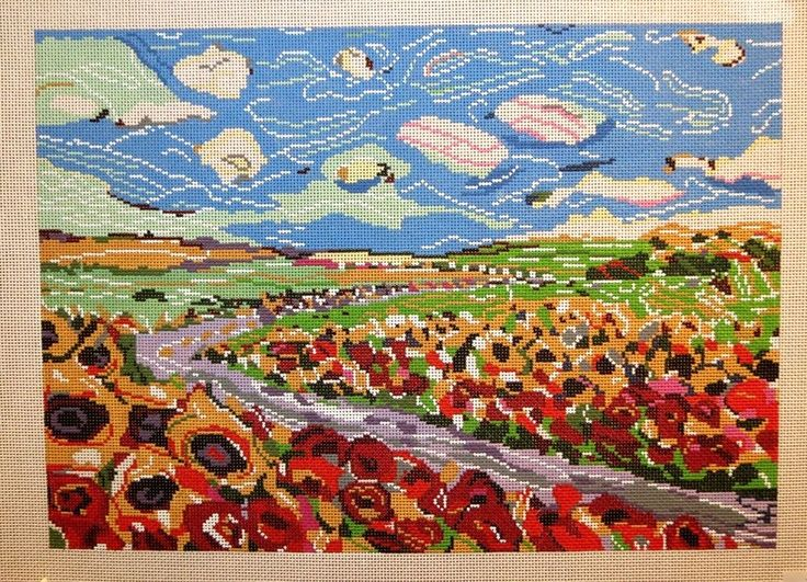 Patti Mann / Mike Savage Country Fields 13 Count Handpainted Needlepoint Canvas #Handpainted