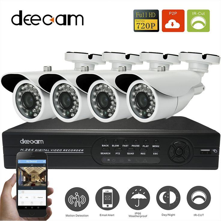 Deecam 4ch CCTV System DVR Recorder Night Vision Home Security Camera System 720P HD Video Recorder Set Camaras De Seguridad #Affiliate