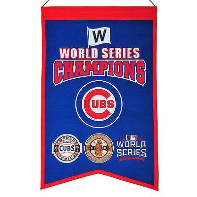 Chicago Cubs 1907 1908 2016 World Series Champions14x22 EMBROIDERED Wool Banner