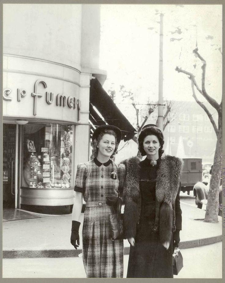 Two women in Australian fashion outside Minerva French Perfumery, Kings Cross July 1941