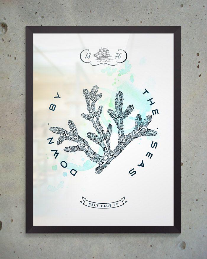 Художественный постер Coral из коллекции Salt Club 76 формата А3 под стеклом в раме. Идеально подходит для оформления интерьера в морском стиле, будь то ресторан, личный кабинет или офис.  #постеры #принты #картины #иллюстрация
