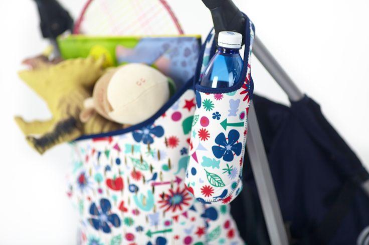 Torba na wózek z neoprenu + etui na butelkę z neoprenu - 40 settimane - kolor niebieski w kształty