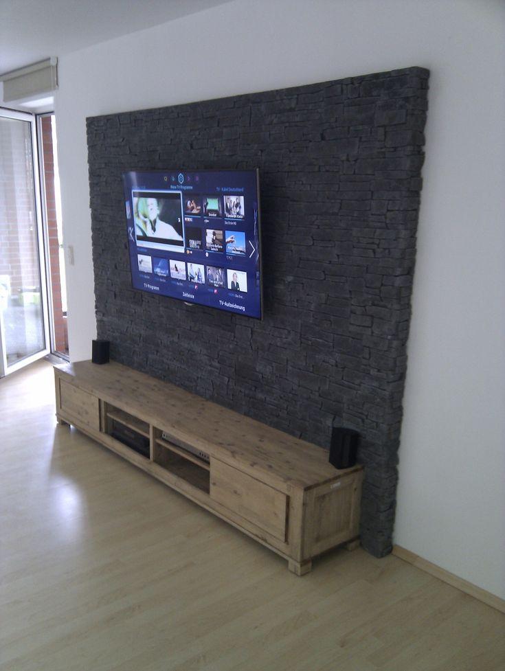Top 25+ Best Tv Wand Eigenbau Ideas On Pinterest | Holz Stahl ... Wohnzimmer Ideen Tv Wand Stein