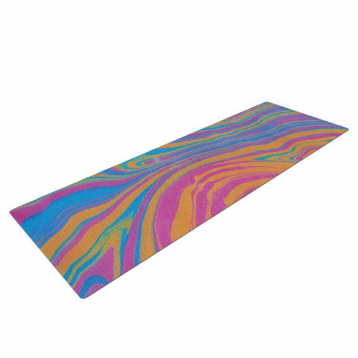 """Viviana Gonzalez """"Suminagashi 01"""" Orange Blue Painting Yoga Mat from KESS InHouse"""