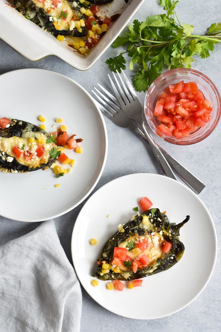 Baked Vegetarian Chile Rellenos - a healthier version of the traditional Mexican dish, these stuffed poblanos are baked and filled with veggies and cheese! (gluten free, low carb)