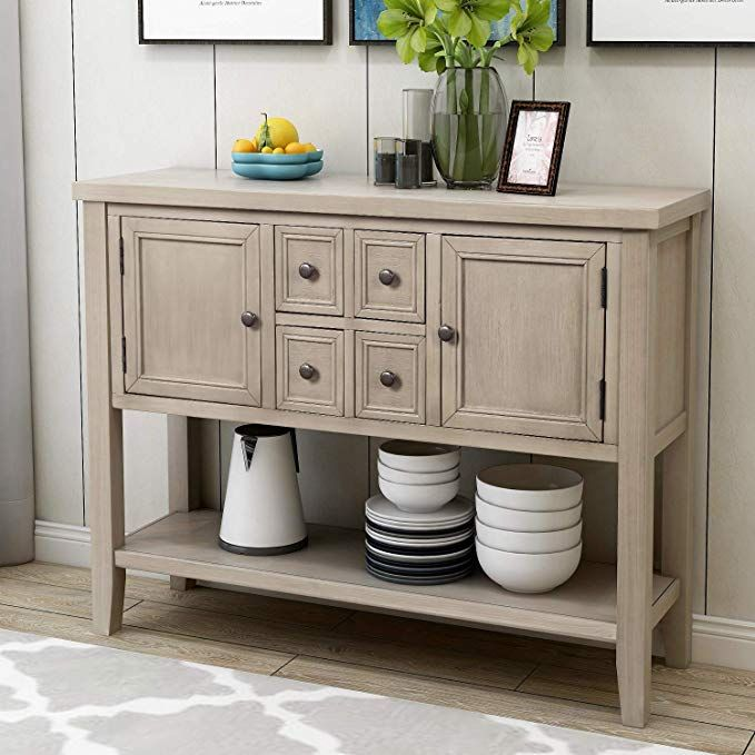 Amazon Com P Purlove Console Table Buffet Sideboard Sofa Table With Four Storage Drawers Tw Sideboard Storage Sideboard Console Table Table Storage