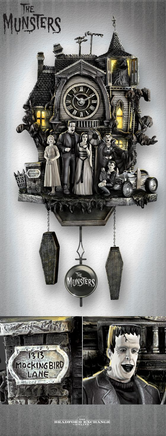 Pinterest: @MagicAndCats ☾ Invite Herman, Lily, Grandpa, Marilyn, Eddie and Woof Woof into your home with this unique Munsters tribute clock. Features lights and music!