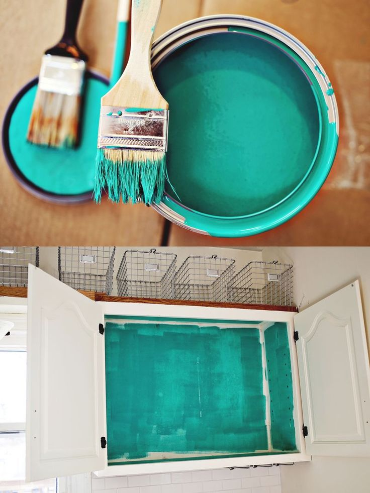 reinvent rather than buy new by painting the interior of old cabinets with a bright color