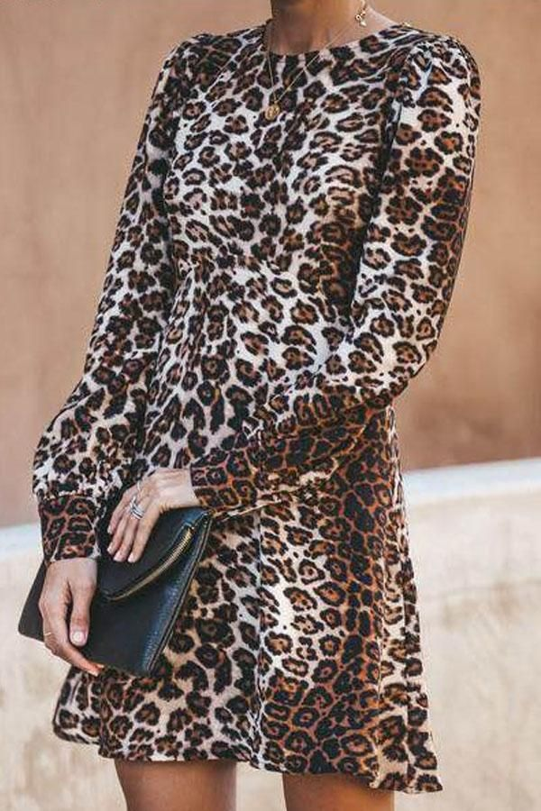 Round Neck Leopard Long Sleeve Casual Dresses 2