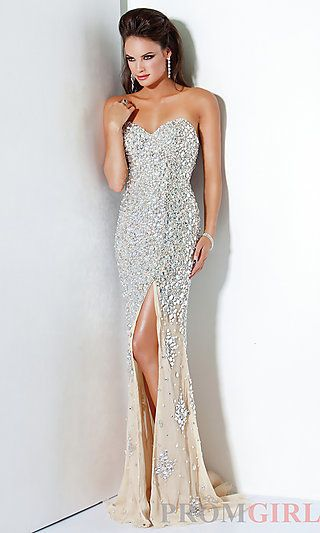 Silver Sequin Evening Gowns, Jovani Long Prom Dresses- PromGirl