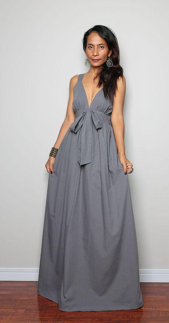 Grey Maxi Dress  Elegant V Neck Long Evening Dress   by Nuichan, $59.00