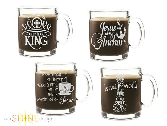 Etched Christian Coffee Cup - Personalized Gift - Christian Gift - Scripture - Engraved Glass Mug - Pastor's Gift - FREE Domestic Ship
