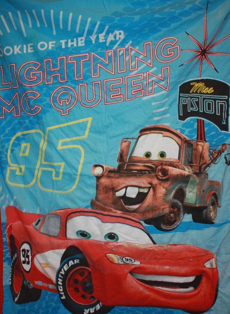 Disney Pixar Cars Toddler Bed Comforter Size Blanket Lightening McQueen Tow #DisneyPixar