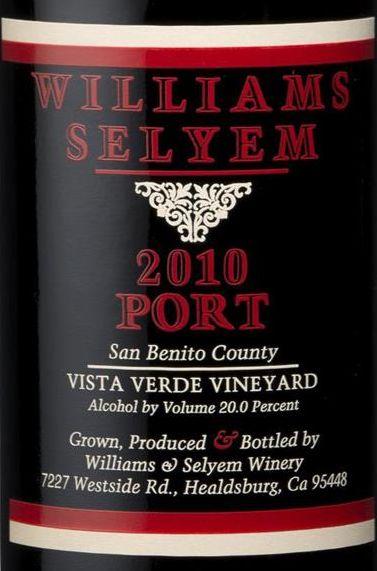 2010 Williams Selyem Port Vista Verde Vineyard