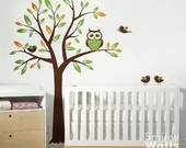 Tree with Owl and Birds Wall Mural: Baby Room Art, Kids Wall Decals, Baby Rooms, Vinyl Wall Decals