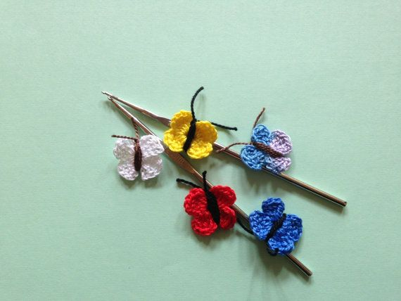 Butterfly applique Crochet applique Cotton by LittleFlowerbyGloria