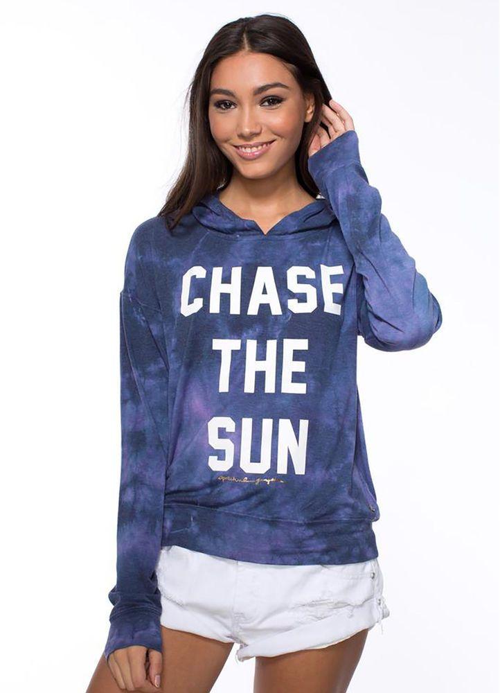 NWOT Spiritual Gangster  'Chase The Sun' Graphic Hoodie Tie Dye small #SpiritualGangster #SweatshirtCrew