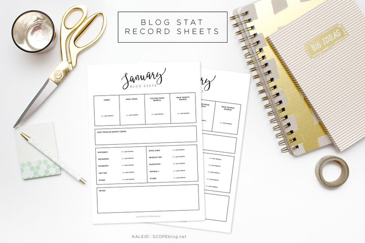 Keep your blog statistics organised with these free blog stat record sheets from Kaleidoscopeblog.net