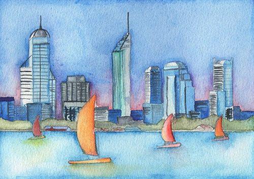 Perth Art Print Skyline Western Australia 5x7 by EmmaAllardSmith