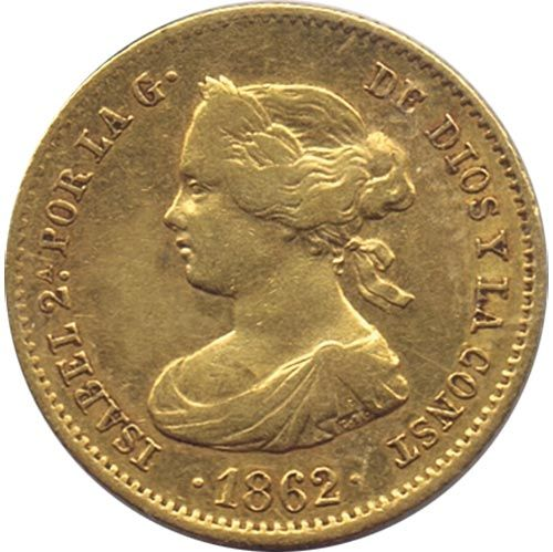 Moneda de oro 40 Reales Isabel II 1862 Madrid.