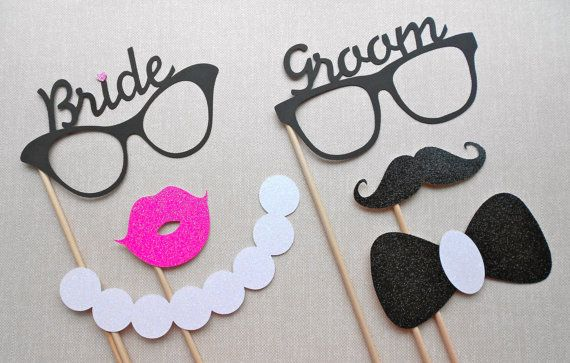 Bride and Groom Glasses Photo Prop Set. Wedding Photo Props. Glitter Photo Props. Mustaches / Lips / Bowties / Pearl Necklaces. Set of 6.. $16.00, via Etsy.