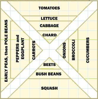 A 100-square-foot garden (10x10 feet) can easily yield a wide variety of veggies. Bisecting it with two narrow paths forms four beds that are easy to reach into and tend. (One square = one square foot.)