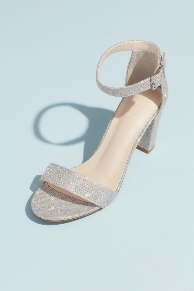 Block Heel Ankle Strap Sandal Style Arya Silver 11 Silver