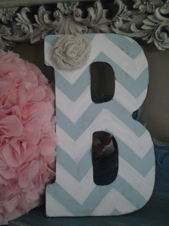 Large Chevron Initials Your Choice of Color with Burlap Flower Great for Baby Shower, Baby Gift, Childs Room