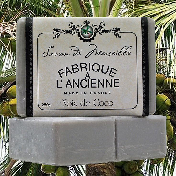 """Coconut """"Fabrique A L'Ancienne"""" 250g traditionally made Savon de Marseille are world famous for their beautiful rich texture and long lasting fragrance."""