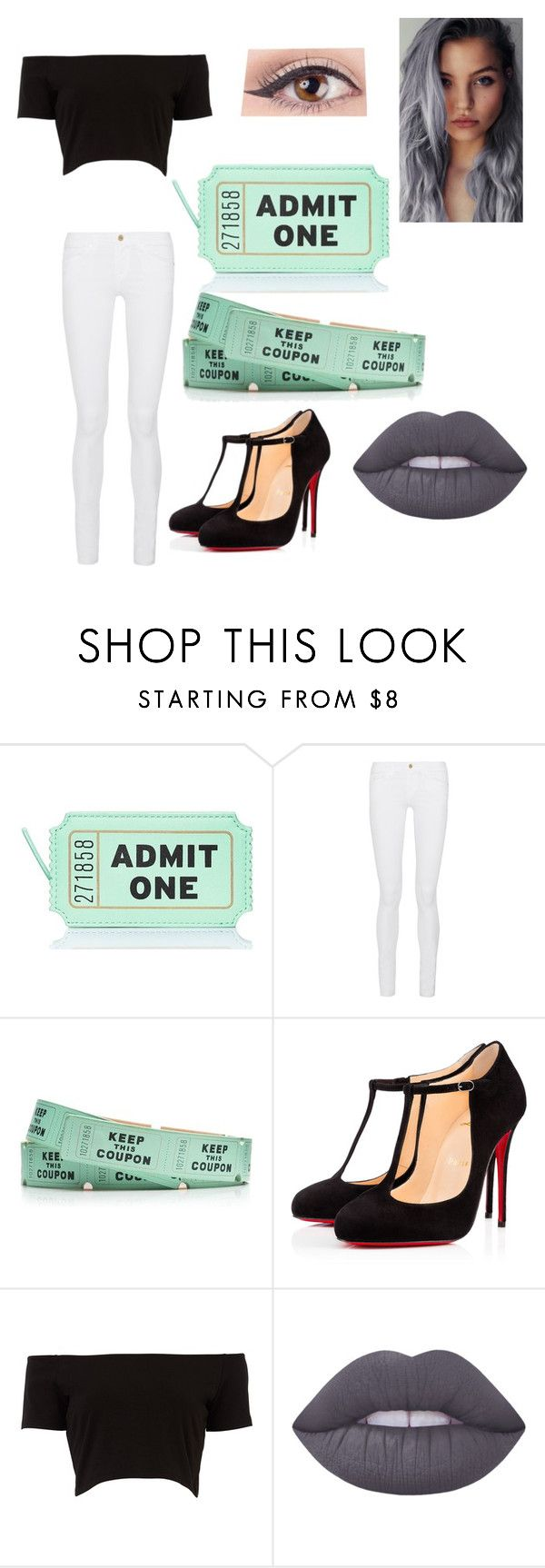 """Admit one"" by alliemcc ❤ liked on Polyvore featuring Kate Spade, Frame Denim, Christian Louboutin and Lime Crime"