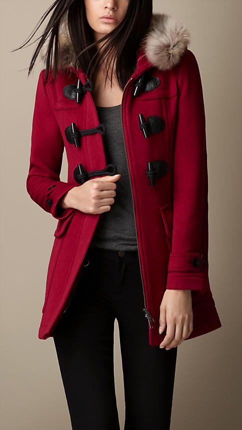 Fur Trim Fitted Duffle Coat | Burberry