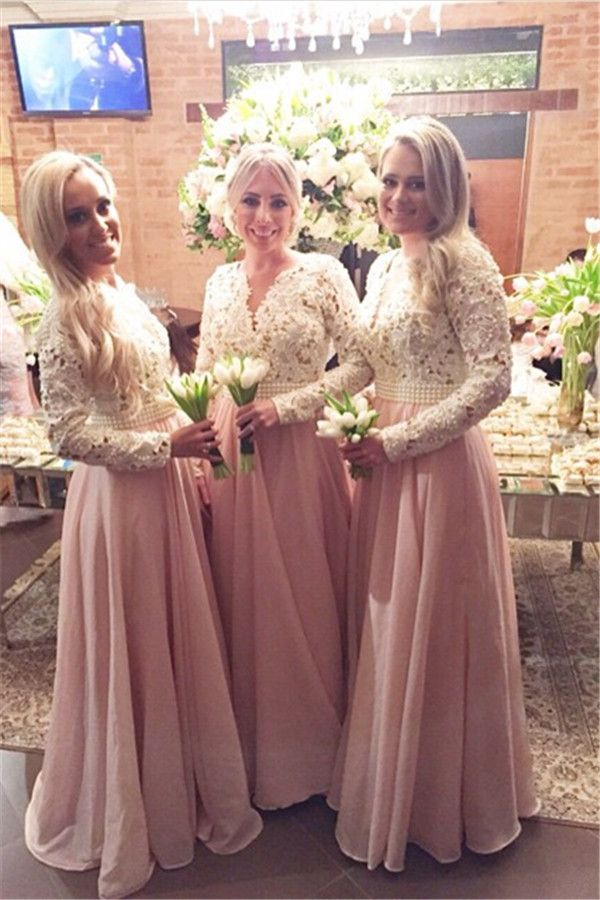 $169-New Arrival Long Sleeves Lace Bridesmaid Dresses V-Neck Beaded Prom Dresses