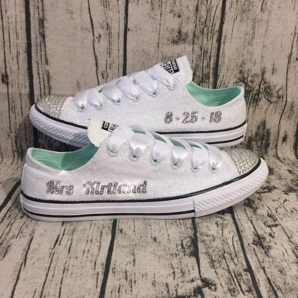 c14872befce6 Womens Sparkly White Glitter Bridal Crystals Converse All Stars Bride  Wedding Gift shoes