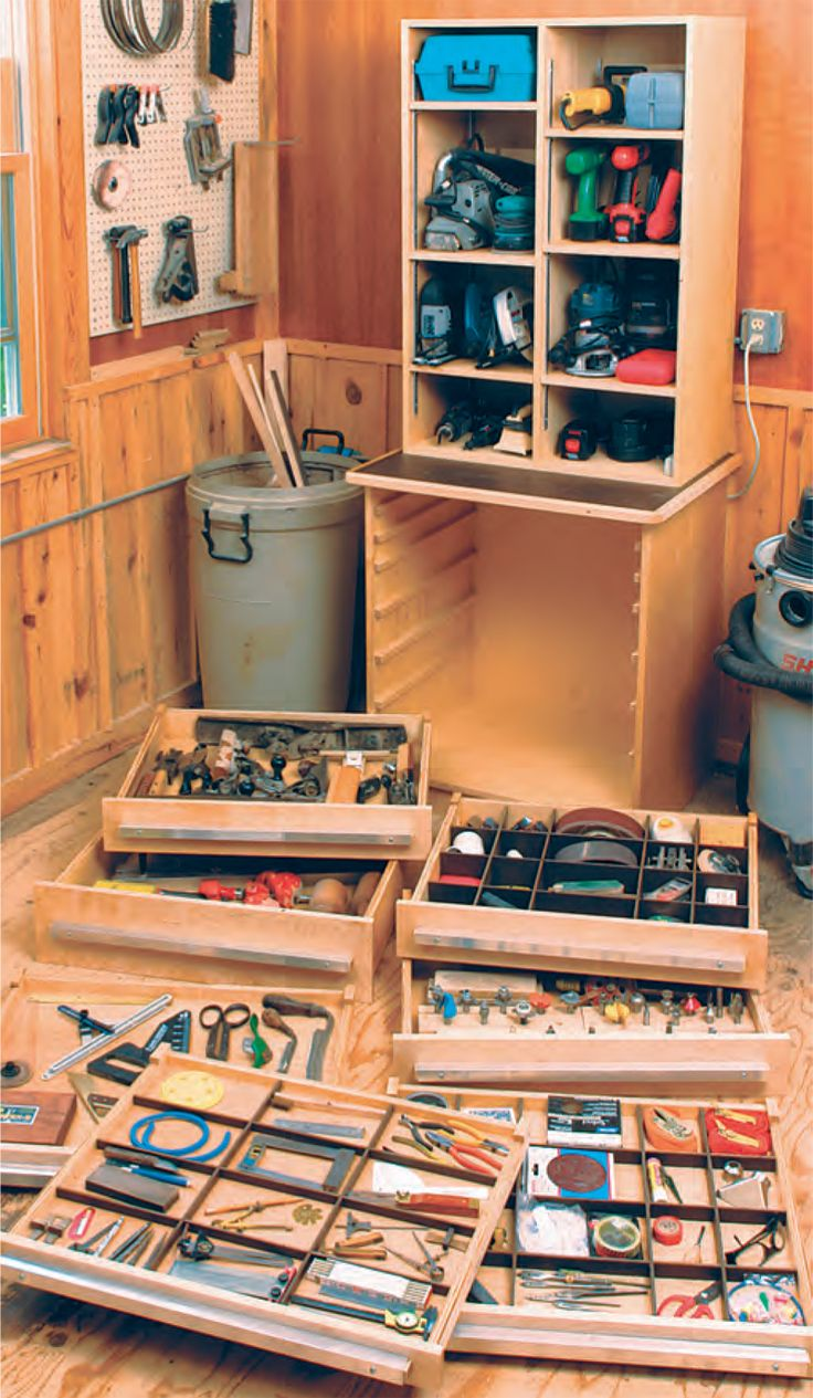 Beautiful Tool Cabinet   The Woodworkeru0027s Shop   American Woodworker Tight Storage  For A Small Garage R Shop Ideas