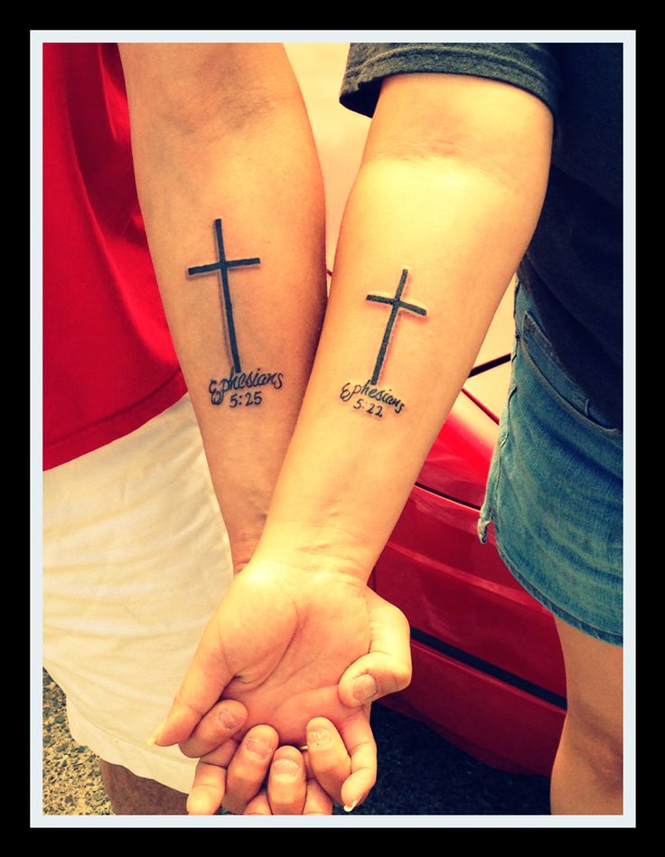 Godly couple!! 5/22/14 me and my hubby and our matching tattoos ! Bible verses Ephesians 5:22&25! Thanks to Jay and John @ Disciple tattoo in Albuquerque Nm.