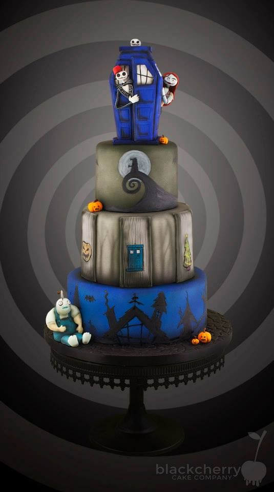 A Doctor Who / Nightmare Before Christmas Cake - Black Cherry Cake Company