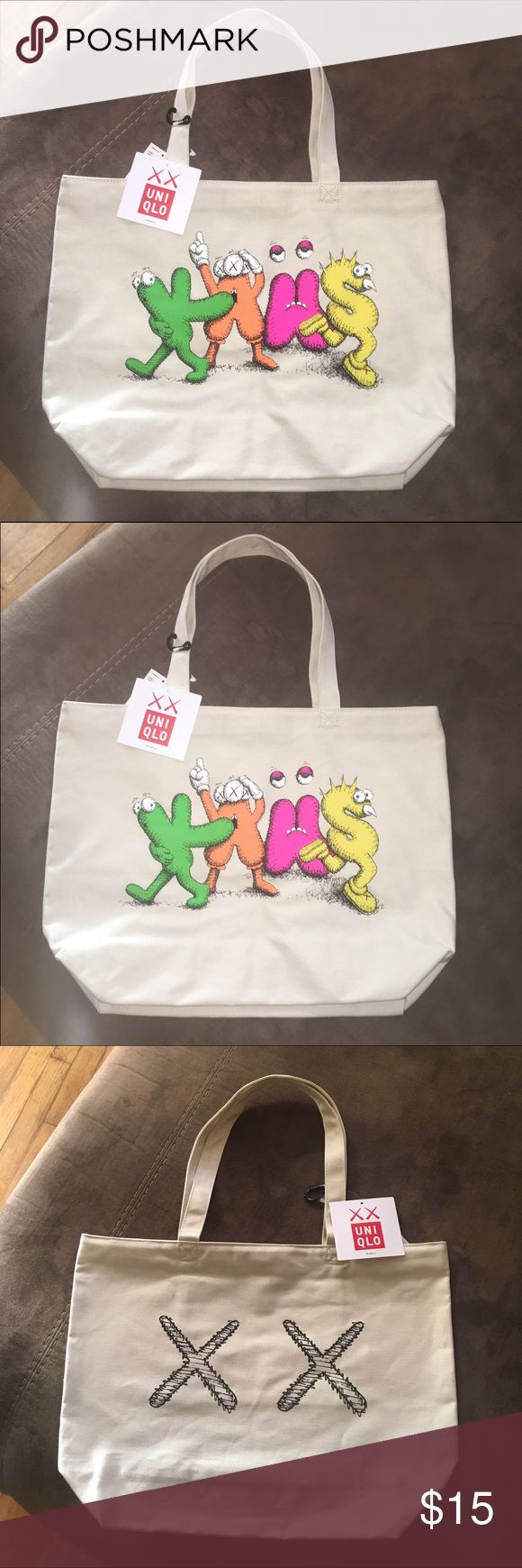 Uniqlo Kaws Bag ! Special PRICE NWT ! Cream TOTE BAG ! NWT ....Uniqlo Kaws Edition ...Ask for Offer , Leave Phone Number Under Comments for Offer. Uniqlo Bags Totes