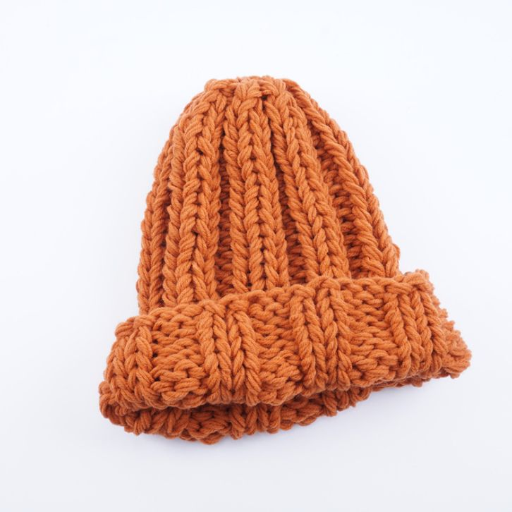 Europe and the United States new knit hat ladies autumn and winter fashion wild thick wool hat solid color simple earmuffs – SHOPEE SHIPEE YIPEE