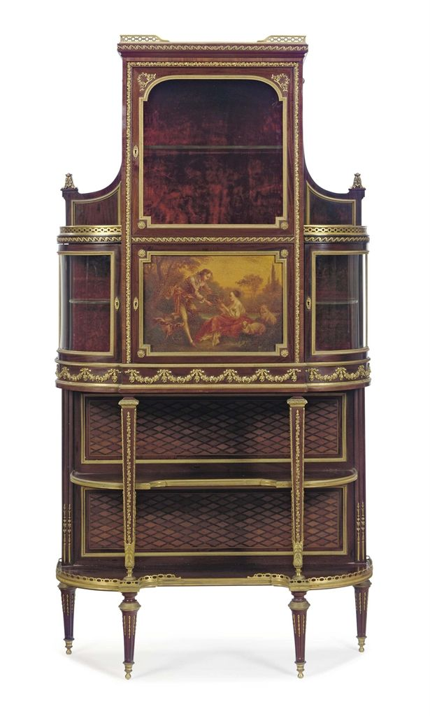 A FRENCH ORMOLU-MOUNTED KINGWOOD, MAHOGANY, PARQUETRY AND VERNIS MARTIN  VITRINE-CABINET - 177 Best FRENCH VITRINE CABINET,S Images On Pinterest Antique
