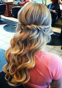 brides hair styles curly half up half twist work that up do 4384