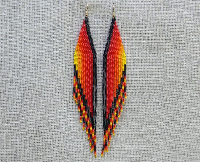 Extra Long Earrings. Native American Earrings Inspired. Red Yellow Black Orange Earrings. Shoulder Dusters. Wings.Beadwork.. $31,00, via Etsy.