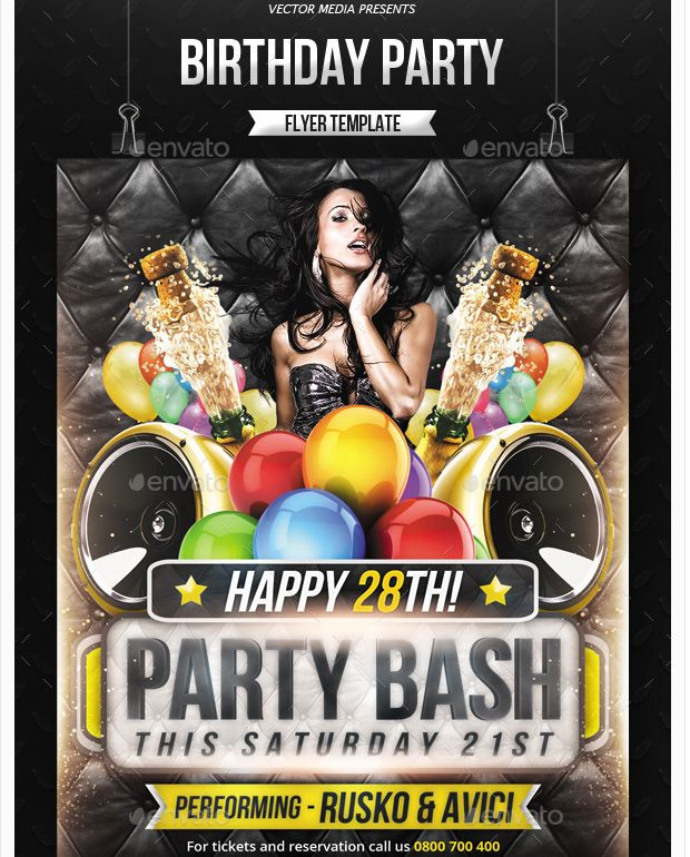 Best Birthday Party Flyer Template Images On