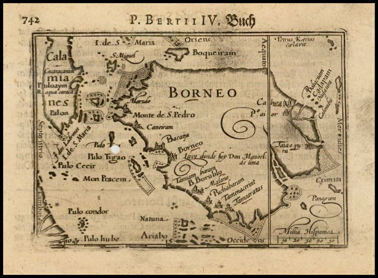 Old Borneo Map by Benjamin Wright in 1601