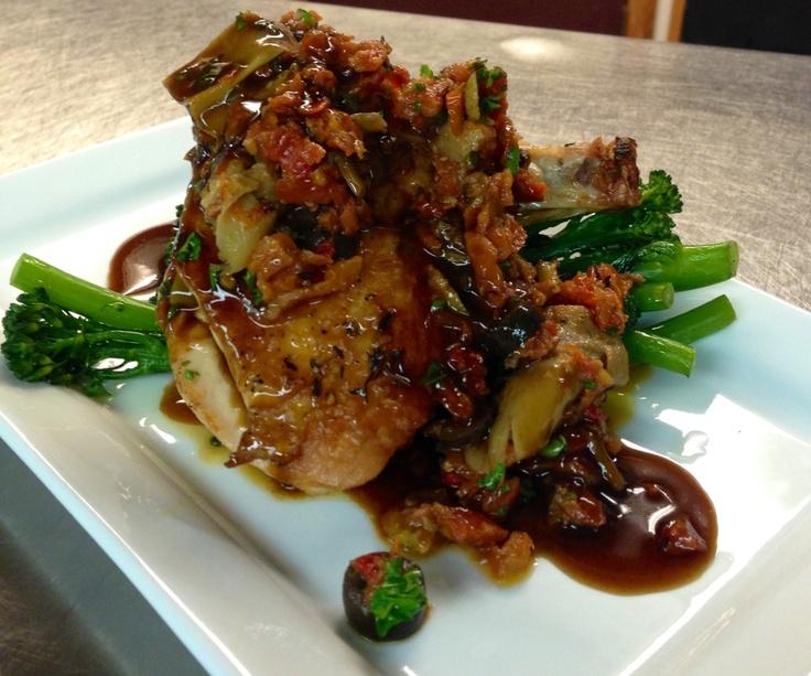 Lauren Miller Farms Airline Chicken, roasted tomato, artichoke and gaeta olive cruda, broccolini.