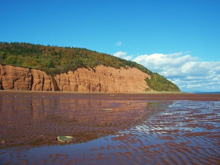 Cliffs at Blomidon, Bay of Fundy low tide, Nova Scotia.