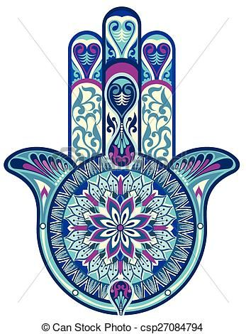 Vector - Hamsa hand - stock illustration, royalty free illustrations, stock clip art icon, stock clipart icons, logo, line art, EPS picture, pictures, graphic, graphics, drawing, drawings, vector image, artwork, EPS vector art