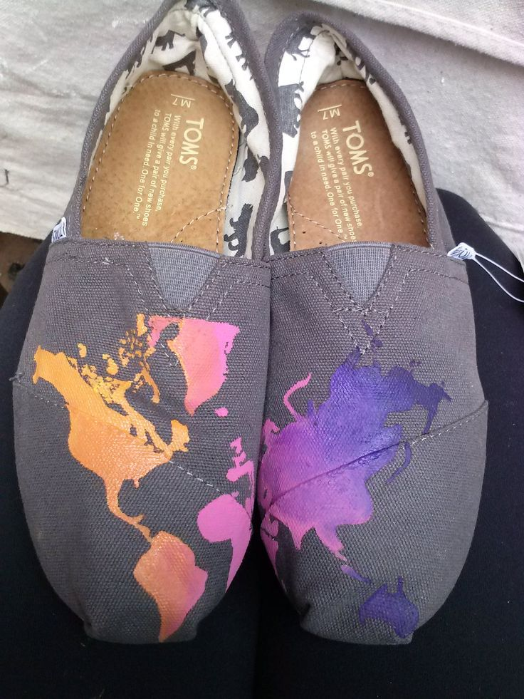 world map painted Toms. $75.00, via Etsy.