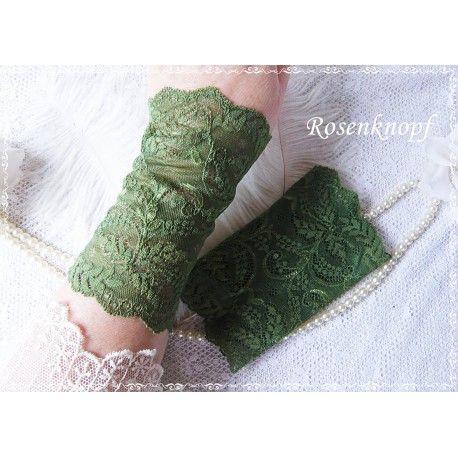 Elegante und feine Spitzenstulpen aus elastischer, grasgrüner Spitze♥